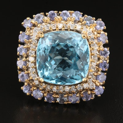 Sterling 23.12 CT Topaz, Tanzanite and Cubic Zirconia Ring