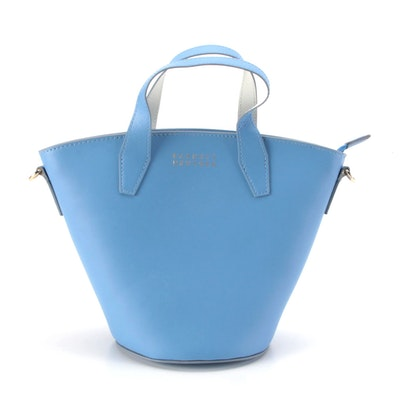 Barneys New York Two-Way Bucket Bag in Light Blue Leather