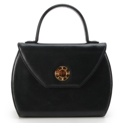 Givenchy Black Leather Front Flap Two-Way Handbag