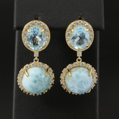 Sterling Larimar and Topaz Drop Earrings with Cubic Zirconia Accents