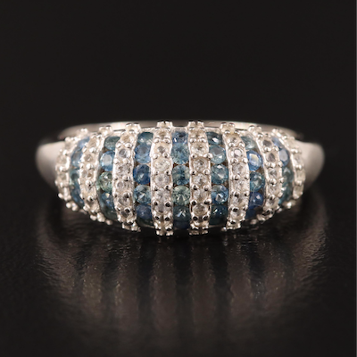 Sterling Sapphire and Topaz Tapered Band