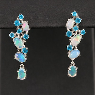Sterling Opal and Apatite Drop Earrings
