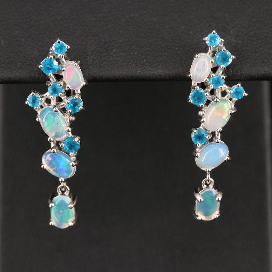 Sterling Opal and Apatite Drop Earrings