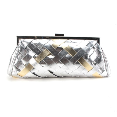 Lulu Townsend Two-Way Evening Bag in Woven Metallic Faux Leather