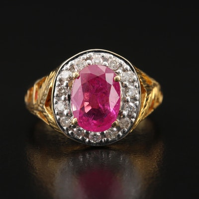 18K 1.73 CT Ruby and Diamond Ring with Foliate Accents