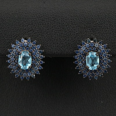 Sterling Topaz and Sapphire Triple Halo Earrings