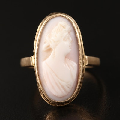 Vintage 14K and 10K Conch Shell Cameo Ring