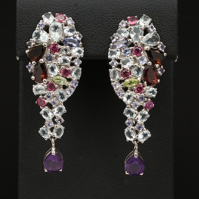 Sterling Drop Cluster Earrings with Amethyst, Tourmaline and Peridot