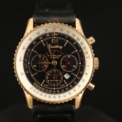 "Breitling ""Montbrilliant"" 18K Rose Gold Automatic Chronograph Wristwatch"