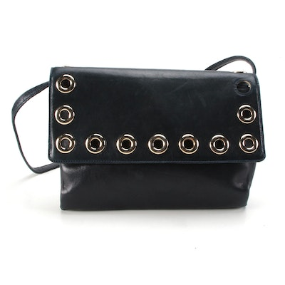 Givenchy Grommet Flap Bag in Navy Blue Leather