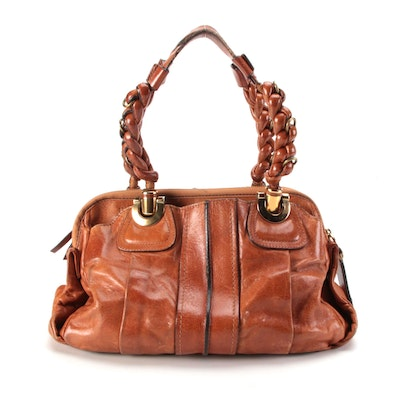 Chloé Heloise Satchel in Cognac Leather with Braided Leather Straps