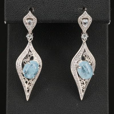 Sterling Aquamarine, Topaz and Cubic Zirconia Dangle Earrings