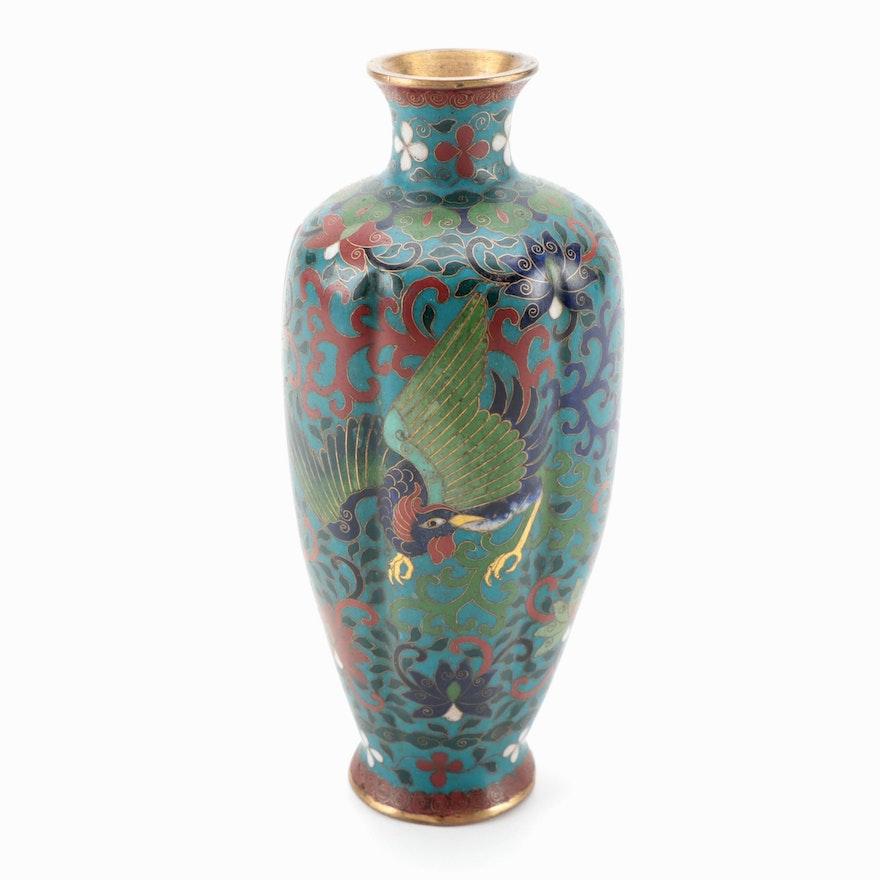 Chinese Cloisonné Lobed Vase with Phoenix Motif