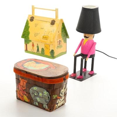 Tasa Matsumura Figural Lamp and Hand-Painted Artisan Boxes