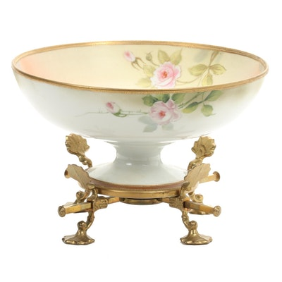 Japanese Nippon Hand-Painted Porcelain Centerpiece Bowl on Brass Stand