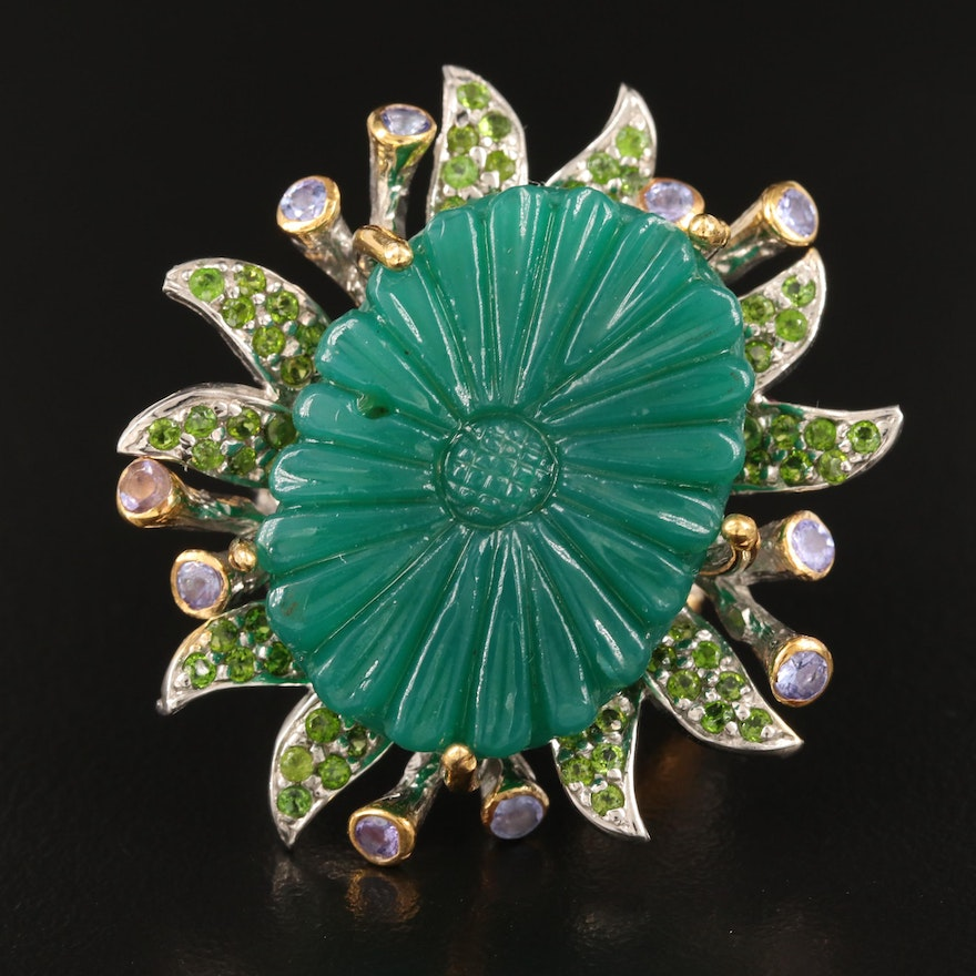 Sterling Tanzanite and Diopside Flower Ring