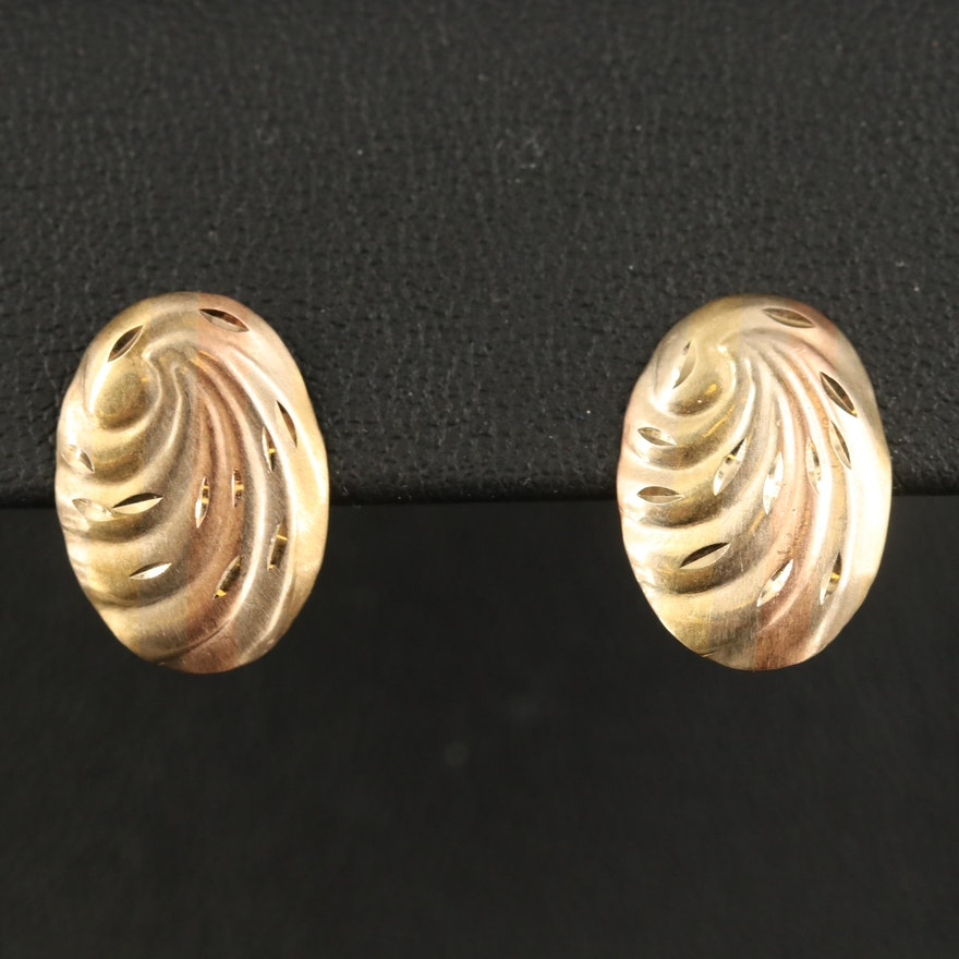 14K Swirl Stud Earrings