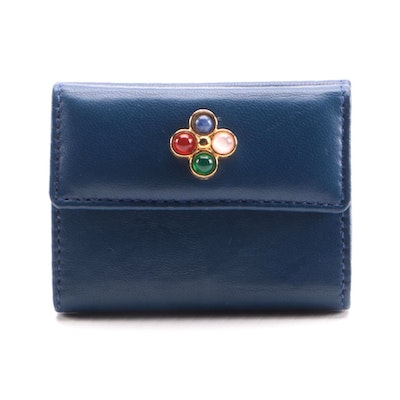 Judith Leiber Stone Embellished Blue Leather Coin Purse