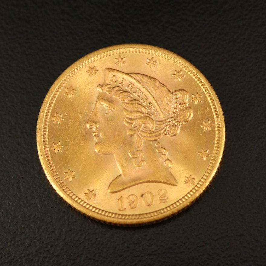 1902-S Liberty Head $5 Gold Half Eagle