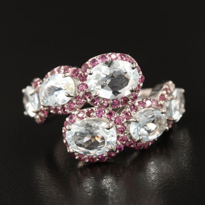 Sterling Aquamarine and Rhodolite Garnet Ring