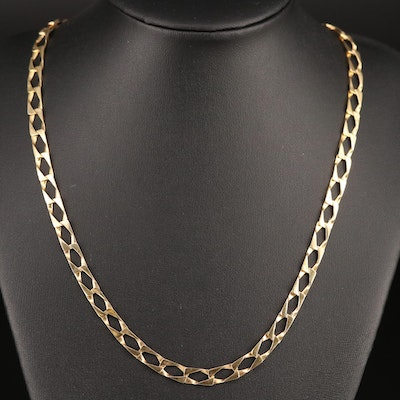 14K Rectangular Curb Link Necklace