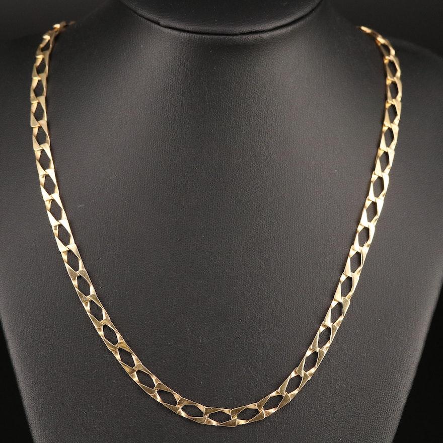 14K Rectangular Curb Link Necklace