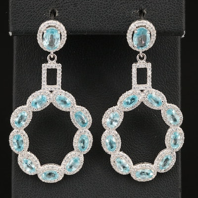 Sterling Zircon and Cubic Zirconia Dangle Earrings