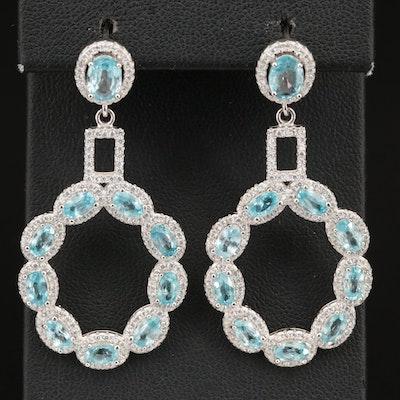 Sterling Zircon and Cubic Zirconia Dangle Earrings
