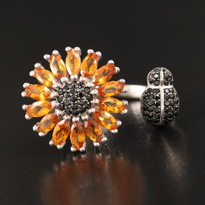 Sterling Citrine and Spinel Sunflower and Ladybug Open Shank Ring