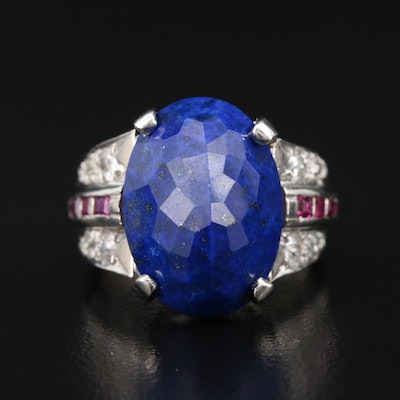 Platinum Lapis Lazuli, Diamond and Ruby Ring