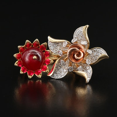 14K Ruby and 1.04 CTW Diamond Floral Ring