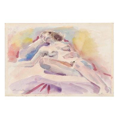 Raymond Zaplatar Double-Sided Watercolor Painting of Female Nude, 2016