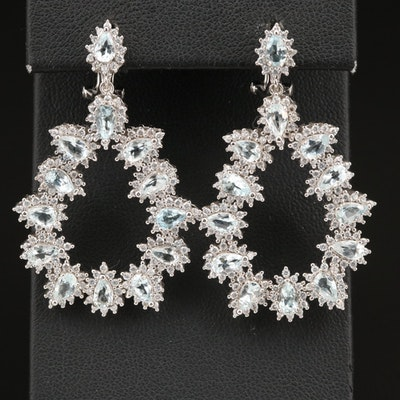 Sterling Aquamarine and Cubic Zirconia Open Teardrop Earrings