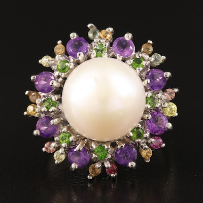 Sterling Pearl, Amethyst and Sapphire Split Shank Ring