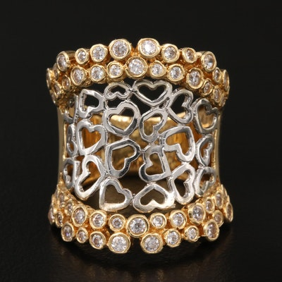 18K Cubic Zirconia Saddle Ring with Open Heart Pattern