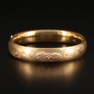 Vintage Gold-Filled Bangle with Foliate Pattern