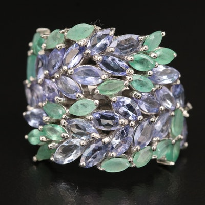 Sterling Tanzanite and Emerald Stylized Laurel Leaf Ring