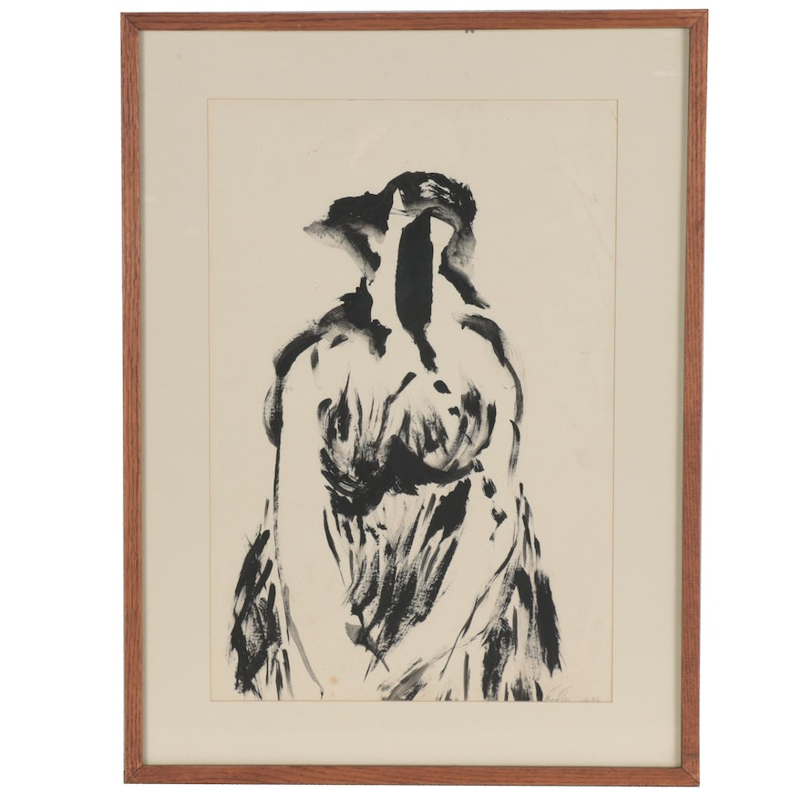 """Fred Tarr Abstract Portrait Ink Drawing """"Woman Crying,"""" 1973"""
