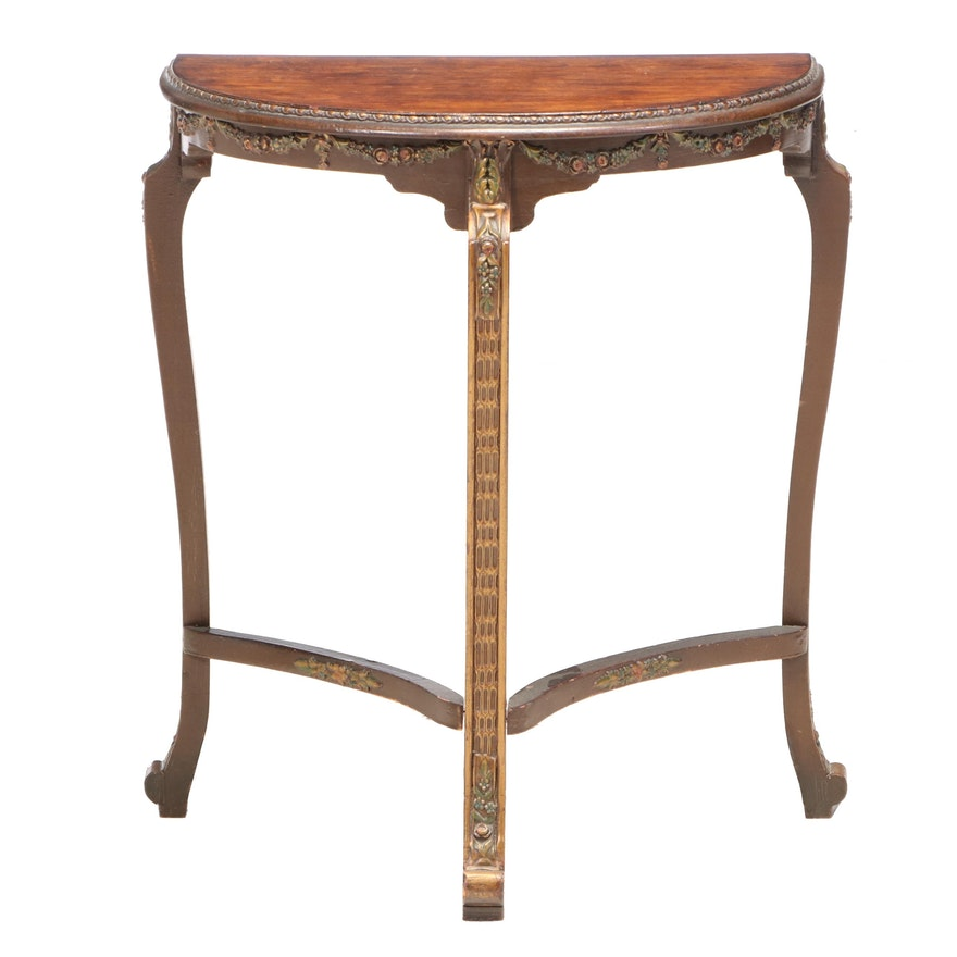 Gilt and Polychrome Decorated Side Table, Early 20th Century