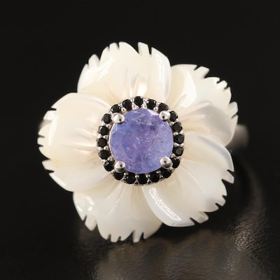 Sterling Carved Mother of Pearl and Tanzanite Flower Ring