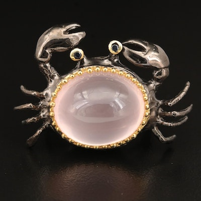 Sterling Rose Quartz and Sapphire Crab Ring