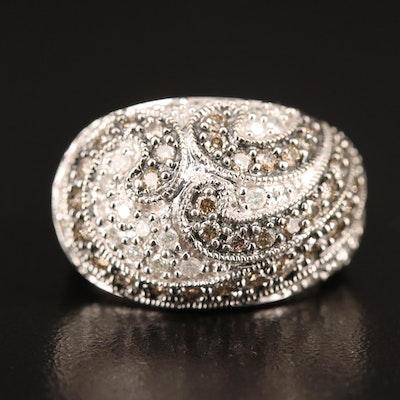 14K 1.08 CTW Pavé Diamond Dome Ring with Swirl Design