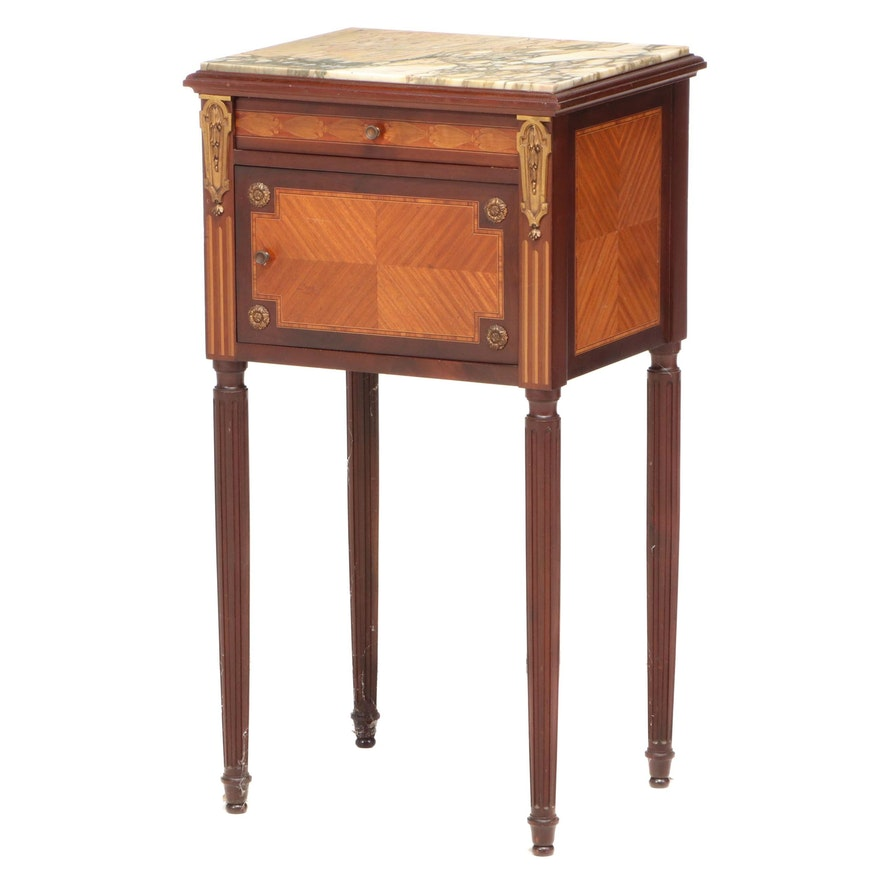 Louis XVI Style Gilt Metal-Mounted, Parquetry and Marble Chevet