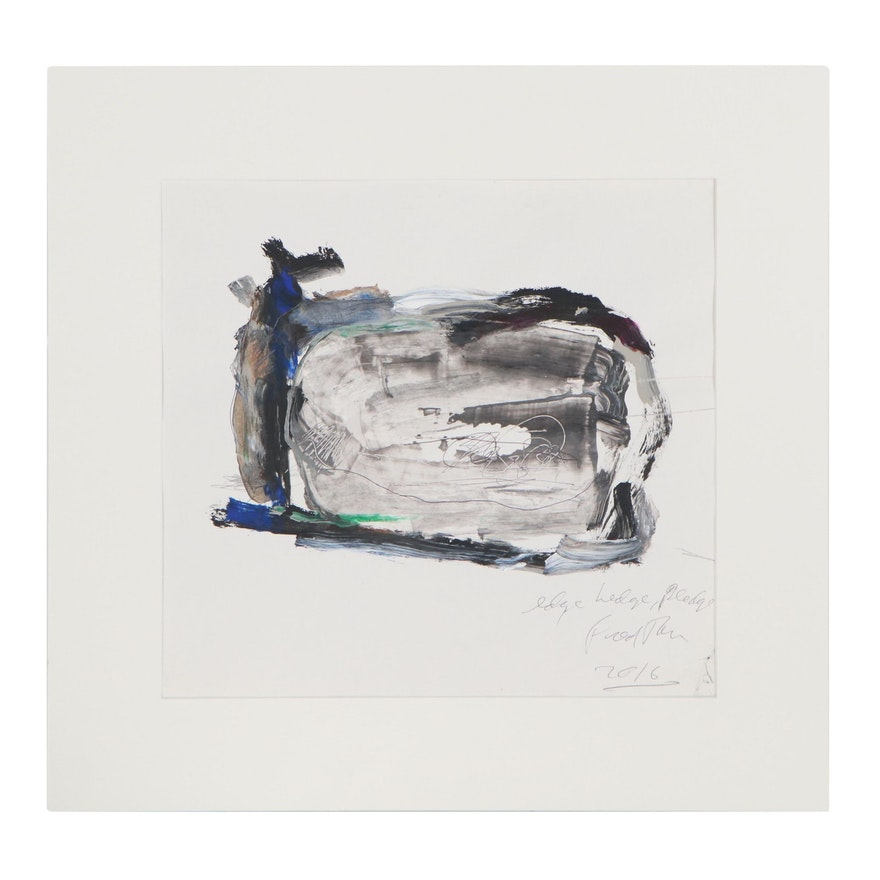 "Fred Tarr Mixed Media Painting ""Edge Ledge, Pledge,"" 2016"