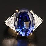 18K 9.84 CT Tanzanite and Diamond Ring