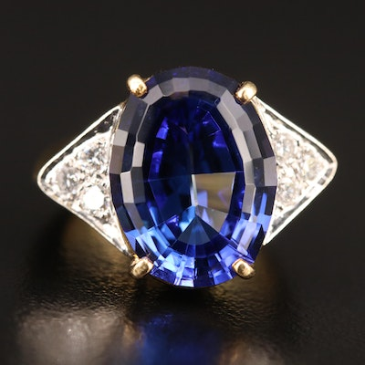 18K 9.84 CT Tanzanite and Diamond Ring