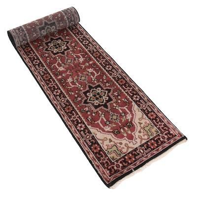 2'8 x 15'10 Hand-Knotted Indo-Persian Heriz Carpet Runner, 2010s