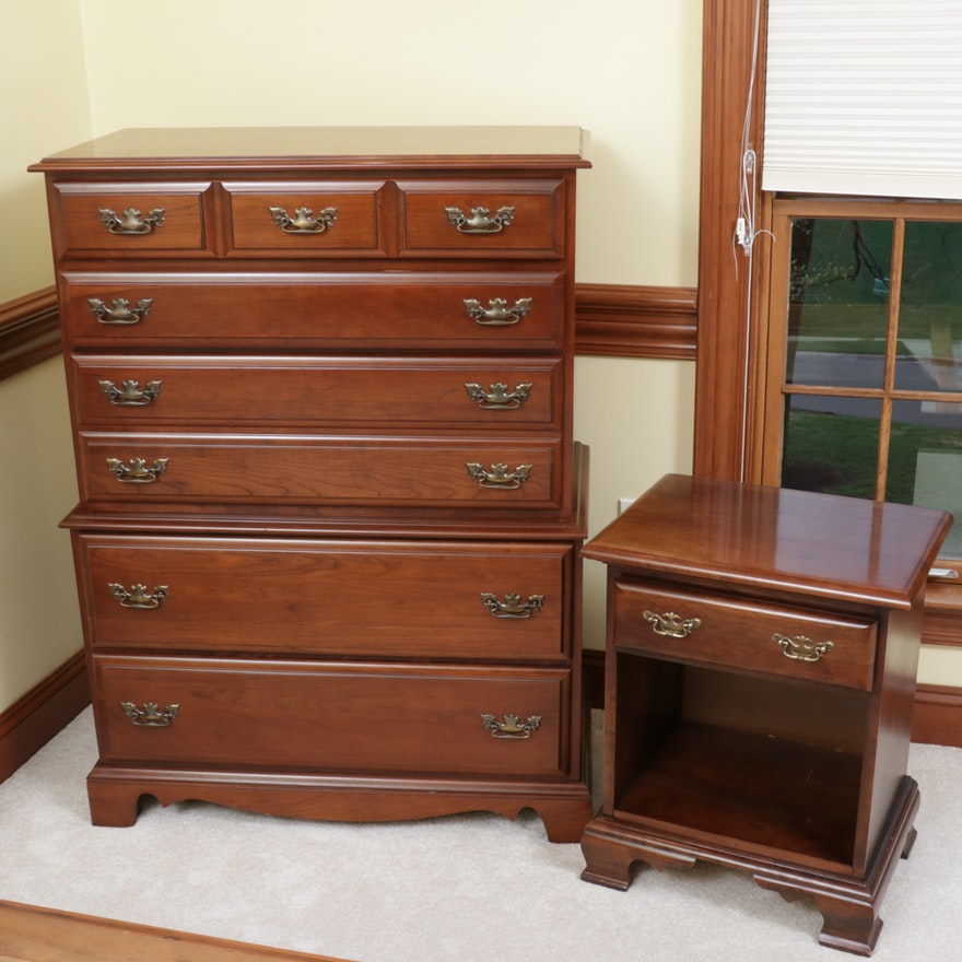 "Cherokee ""Country Squire"" Cherry Chest of Drawers with Night Stand"