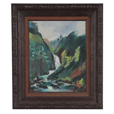 Landscape Oil Painting of Waterfall, 1971
