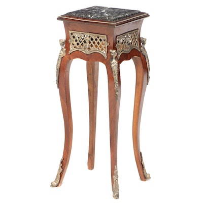 Louis XV Style Gilt Metal-Mounted and Marble Top Plant Stand